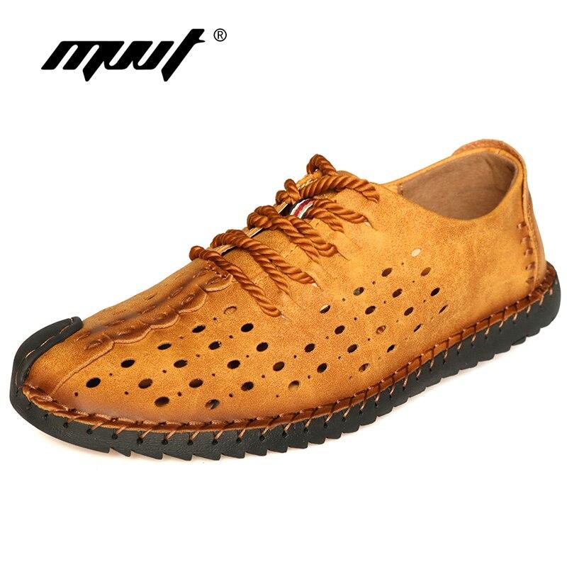 Kvalitet sommar skor män lägenheter andas komfort mäns skor handgjorda mjuka microfiber casual skor män skor