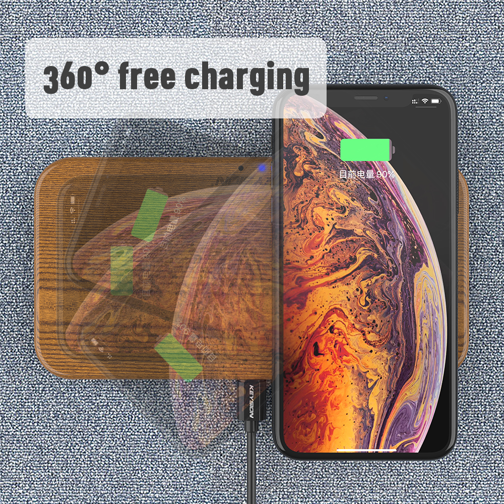 Image 4 - KEYSION Dual Wireless Charger 5 Coils Qi Fast Charging Pad Compatible for iPhone X XS Max Samsung S10 S9 New AirPods Xiaomi Mi 9-in Wireless Chargers from Cellphones & Telecommunications