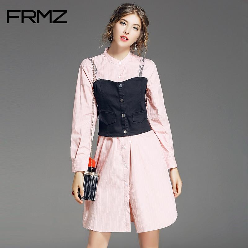 FRMZ Women Dress Striped Long Sleeve Preppy Style Party Dress Female Slim Vest 2017 New Autumn O-Neck Above Knee Mini Dresses