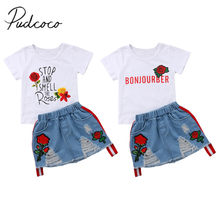 2018 Brand New New Toddler Kids Girl Summer Clothes Short Sleeve Floral T-shirt Tops+Embroider Flower Hole Denim Skirt 2PCS Set(China)