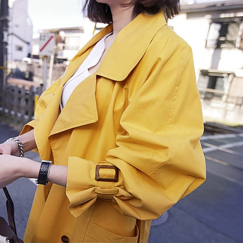 2019 Autumn Women's Double Breasted Trench Coat Loose Casual Windbreaker Female Yellow With Belt Overcoat Business Outerwear 441