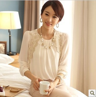 2017 Fashion Chiffon Shirts New Turn-down Collar White Blouse Brand Women Lace Loose Plus Size S-XXL Casual Blusas Femininas