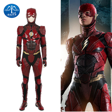 Justice League Flash Cosplay Costume Red Leather Suit Superhero Halloween Costumes For Adult Custom Made Jumpsuit Flash Costume