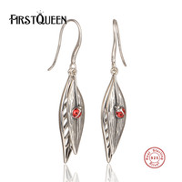 FirstQueen 100% 925 Sterling Silver Good Quality Nature Leaf With Bettle Drop Earrings Push Back Clasp Women Earrings Jewelry