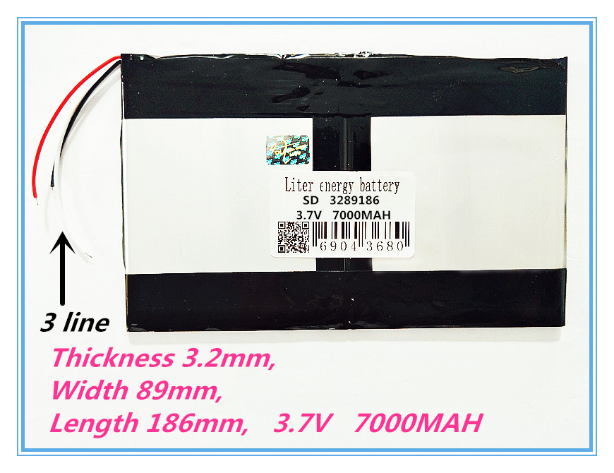 3 line best battery brand Polymer cell 3289186 3.7V 7000MAH Tablet battery Rechargeable battery