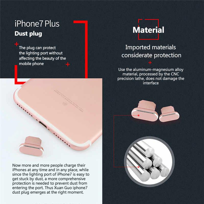ชาร์จโทรศัพท์มือถือ Dust Plug สำหรับ iphone7plus โลหะ Universal ปลั๊กเสียบป้องกันฝุ่นฝาครอบโทรศัพท์มือถืออุปกรณ์เสริม 5 สี
