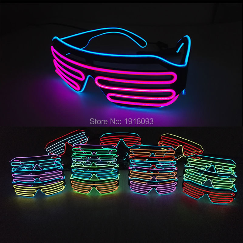 17 Style DC-3V Flashing 2 COLOR Mixed Light Up EL Wire Shutter Glasses Neon LED Glasses Novelty Lighting For Club Festival Party