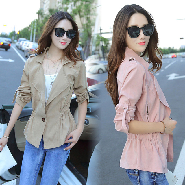 Outono mulheres roupas trincheira fino casaco curto Cintura elástica feminino coreano moda slim manga comprida windbreaker casacos cardigan