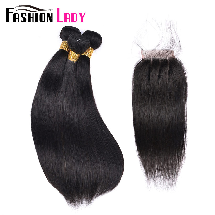 Fashion Lady Natural Color 100% Human Hair Weave Straight With Closure 3 Part Lace Closure With Peruvian Hair Bundles Non-Remy