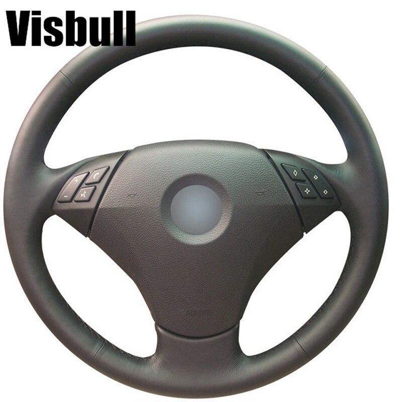 Visbull Black PU Leather Car Steering Wheel Cover V1088 for BMW 530 523 523li 525 520li 535 545i E60