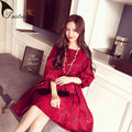 2016 New Brand Women Lace Dresses Elegant Vestido Spring/Summer Dress Ball GownThree Quater Sleeve Bow Ladies Dresses Plus Size
