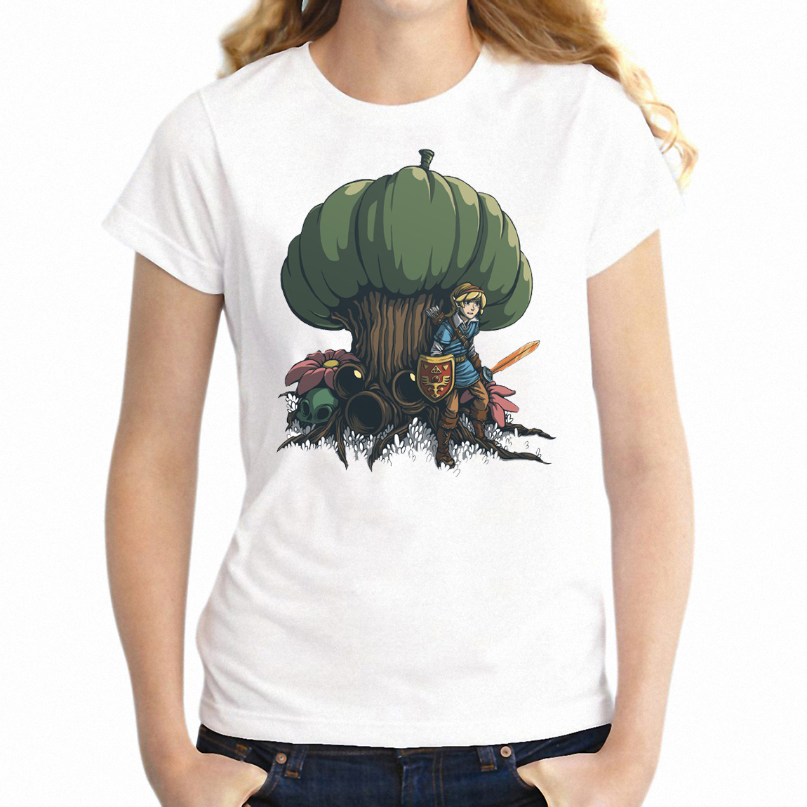 US $7 59 24% OFF|Women's T Shirt Hetsu and Korok Forest Link Legend of  Zelda Gamer Girl's Tee-in T-Shirts from Women's Clothing on Aliexpress com  |