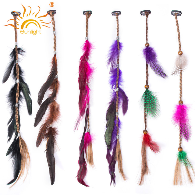 5pcs Beauty Feather Clip In Hair Extensions Quick Wear Pieces