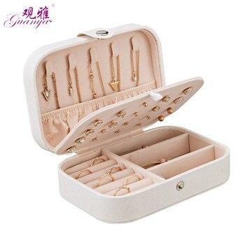Koreanischen Stil Frische Und Einfache Mädchen Ohrringe Platte Schmuck Box Protable Leder Ohrringe Ring Multi-funktion Schmuck Lagerung Box