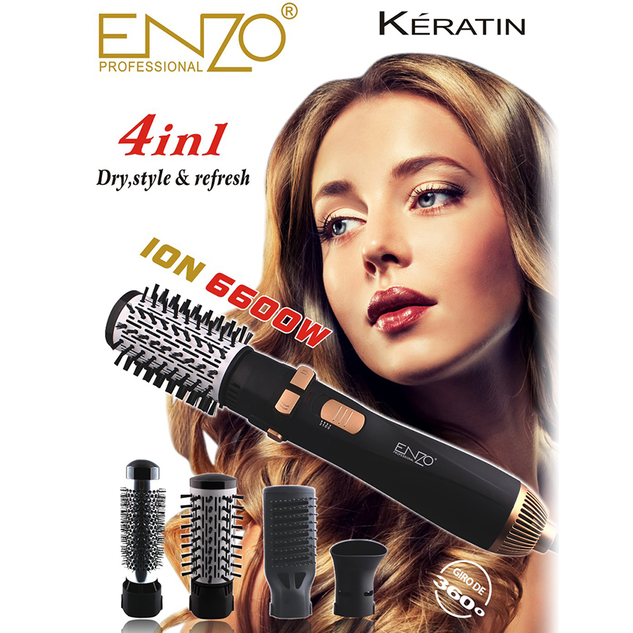 ENZO Профессиональный 4 в 1 Multfunctional фен, расческа Электрический вращающийся для волос фен-щетка завивки волос выпрямитель для волос