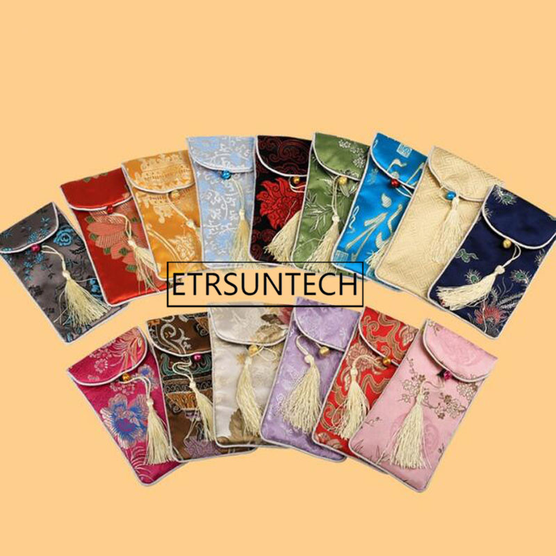 300pcs Rectangle Chinese Style Handmade Silk Brocade Lucky Tassel Jewelry Pouches Collected Beads Gifts Bags 17x9cm