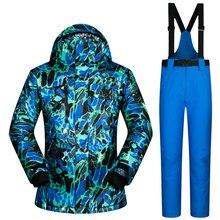 2017 Nuevos Hombres Del Juego de Esquí A Prueba de Viento Impermeable Transpirable Ropa de Alta Calidad Espesar Chaqueta Y Pantalones de Snowboard Nieve Térmica