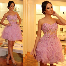 CYF120 Cute Ruffles Ball Gown Flowers Short Prom Dresses 2016 New Appliques Lace Above Knee Evening Party Gown Vestido de festa