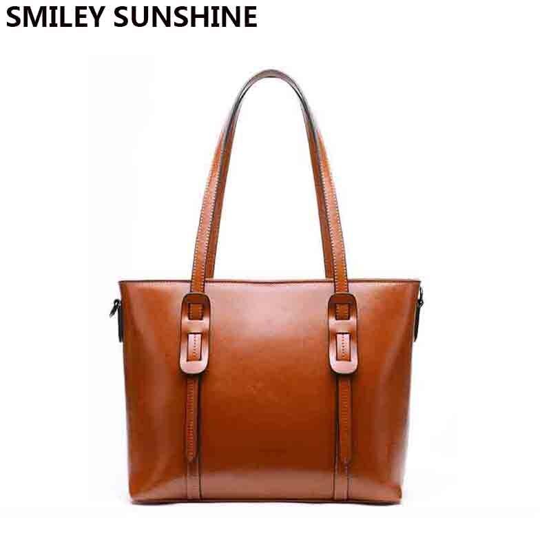 SMILEY SUNSHINE kobiet torba ze skóry naturalnej kobiet torba na ramię o dużej pojemności panie luksusowe torebki designerska torba sac głównym w Torebki na ramię od Bagaże i torby na  Grupa 1