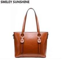 SMILEY SUNSHINE women genuine leather bag female shoulder bag with large  capacity ladies luxury handbags designer 6dcf569de680c