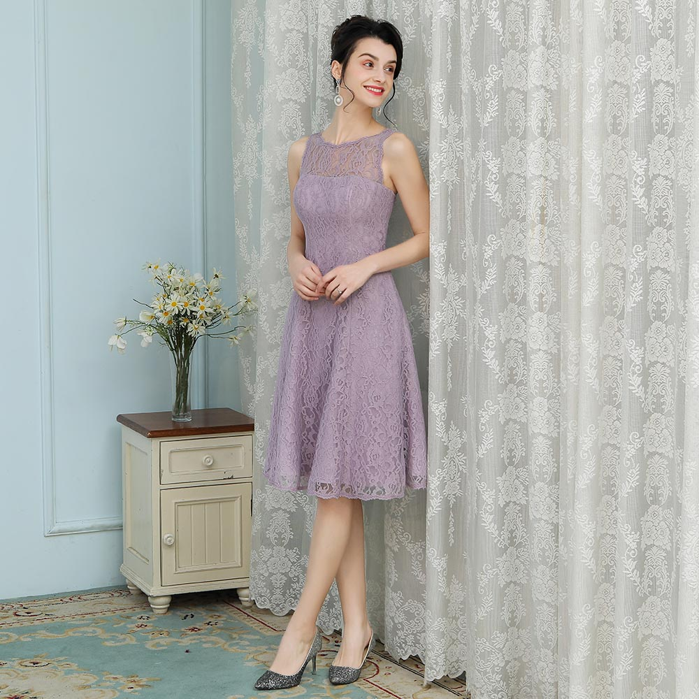 0e212ddbb8d8 BeryLove Short Knee Length Lavender Lace Bridesmaid Dresses 2018 Short  Wedding Party Dresses Homecoming Dress Bridesmaid Gowns-in Bridesmaid  Dresses from ...