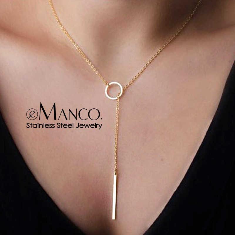 EManco venta al por mayor estilo coreano completa de acero inoxidable collares para mujeres indo colgante kolye collar de joyería de moda