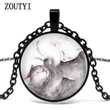 2018/lot Vintage Yin Yang Couple Kitty Cats Necklace Pendant Kolye Cabochon Black Long Chain Necklace Women