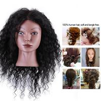 100% Real Human Hair Training Hairdressing Mannequin Head Braiding Practicing Head Black Hair Doll Head with Table Clamp Stand