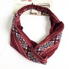 все цены на JZJR Headband Bohemian Style Hairbands Print Headbands For Women Retro Cross Knot Turban Bandage Bandanas Women Hair Accessories онлайн
