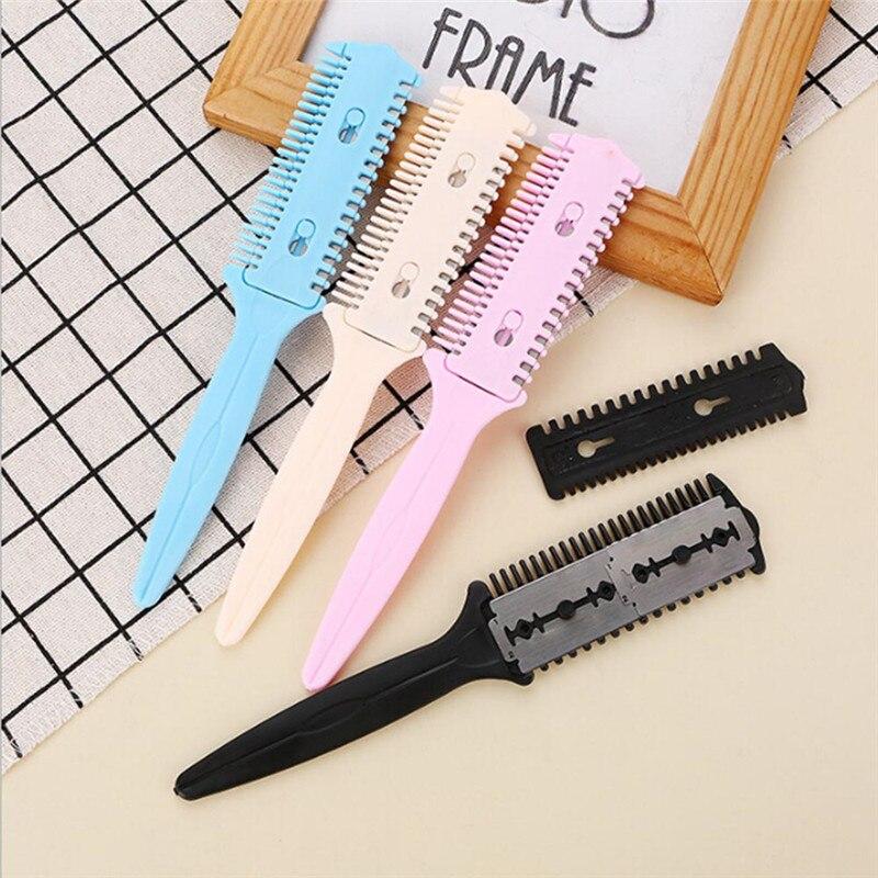 Forehead <font><b>Hair</b></font> Razor <font><b>Hair</b></font> <font><b>Comb</b></font> Trimming <font><b>Comb</b></font> Double-Sided <font><b>Knife</b></font> <font><b>Thin</b></font> <font><b>Hair</b></font> Styling Tool Color Random