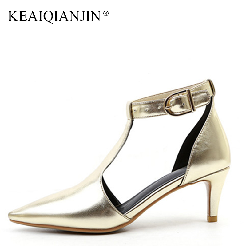 6aff3f39c1d KEAIQIANJIN Woman Genuine Leather Silvery Sandal Sexy Golden High Heeled  Shoes Fashion Summer Gladiator Sharp Head Sandals 2018 - aliexpress.com -  imall.com