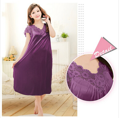 Free shipping women lace sexy nightdress girls plus size bathrobe Large size Sleepwear nightgown Y02-3(China)