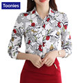 2017 Primavera Top de Las Mujeres Elegantes Camisas de La Gasa Blusa Señora de la Oficina Camisetas de Womne Impresa Flor Blusas Mujer de Manga Larga de La Vendimia