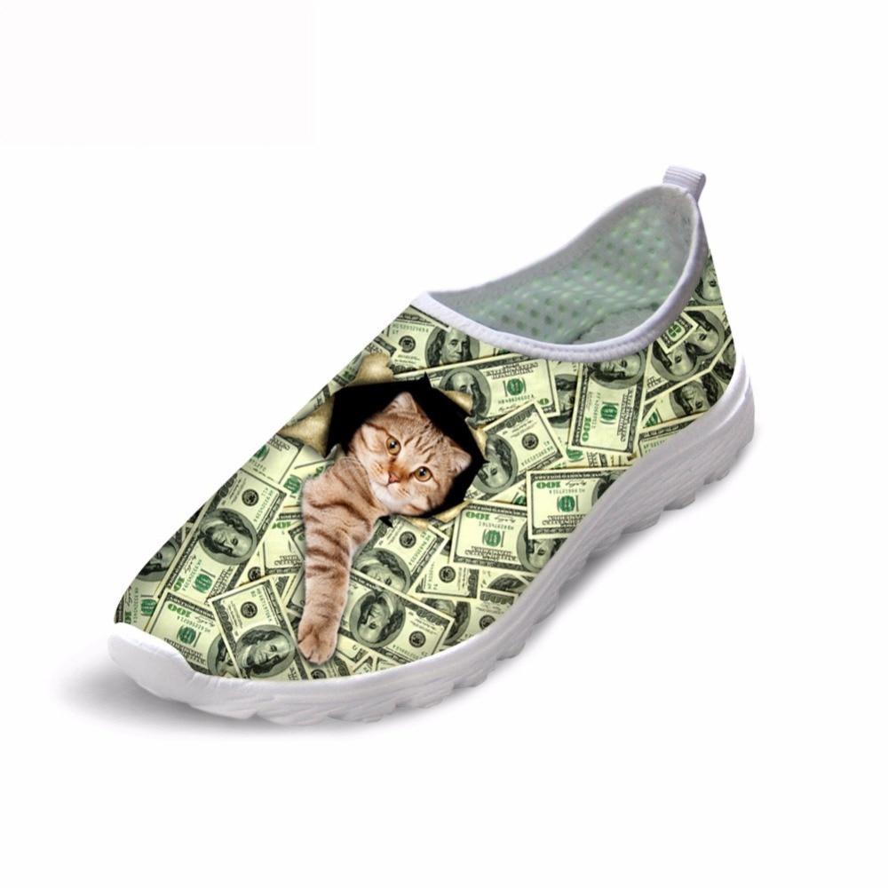 Noisydesigns denar mačka pas blagovno znamko ženske čevlje ženska - Ženski čevlji