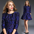 Purples Hitz Europe Retro Jacquard Type Slim elegant royal purple fashion palace color female princess women leisure dress