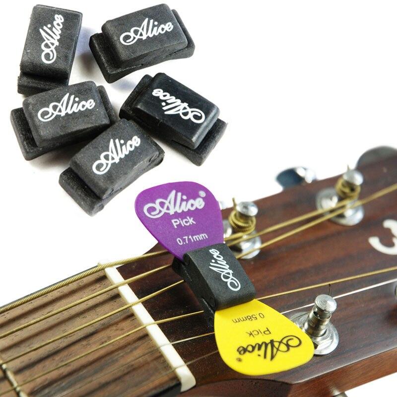 buy alice 5pcs guitar picks holder black rubber palhetas plectrums fix on. Black Bedroom Furniture Sets. Home Design Ideas