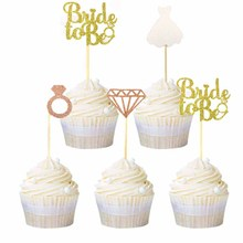 12pcs Bride To Be Diamond Ring Wedding Dress Cupcake Toppers for Bridal Shower Party Decorations