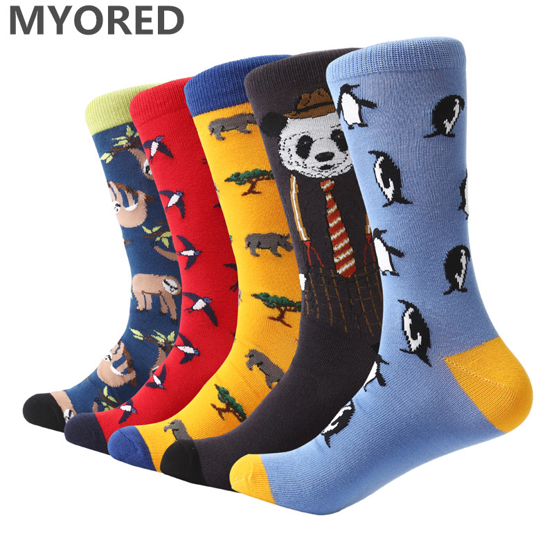 MYORED 5 pair/lot Funny animal Pattern Bright Colorful Men   Socks   Combed Cotton big size knee high crew male   socks   for wedding
