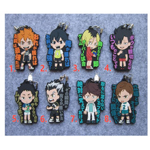 Anime Keychain Haikyuu! High School With Volleyball Sayings Characters Keyring Soft Rubber Pendant Keychain