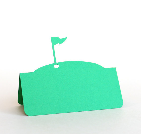 golf flag pin wedding party escort place cards tent seating table