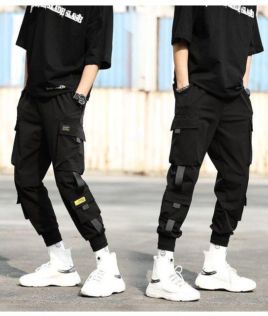 Streetwear Black Harem Pants Men Elastic Waist Punk Pants With Ribbons Casual Slim Jogger Pants Men Hip Hop Trousers 31