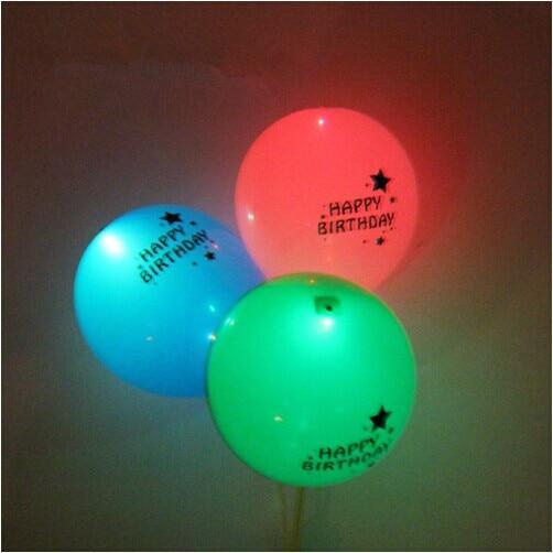 12inch happy birthday Flash Illuminated LED Balloons Glow In The Dark Sky Lanterns Happy Birthday Decoration Valentines Day