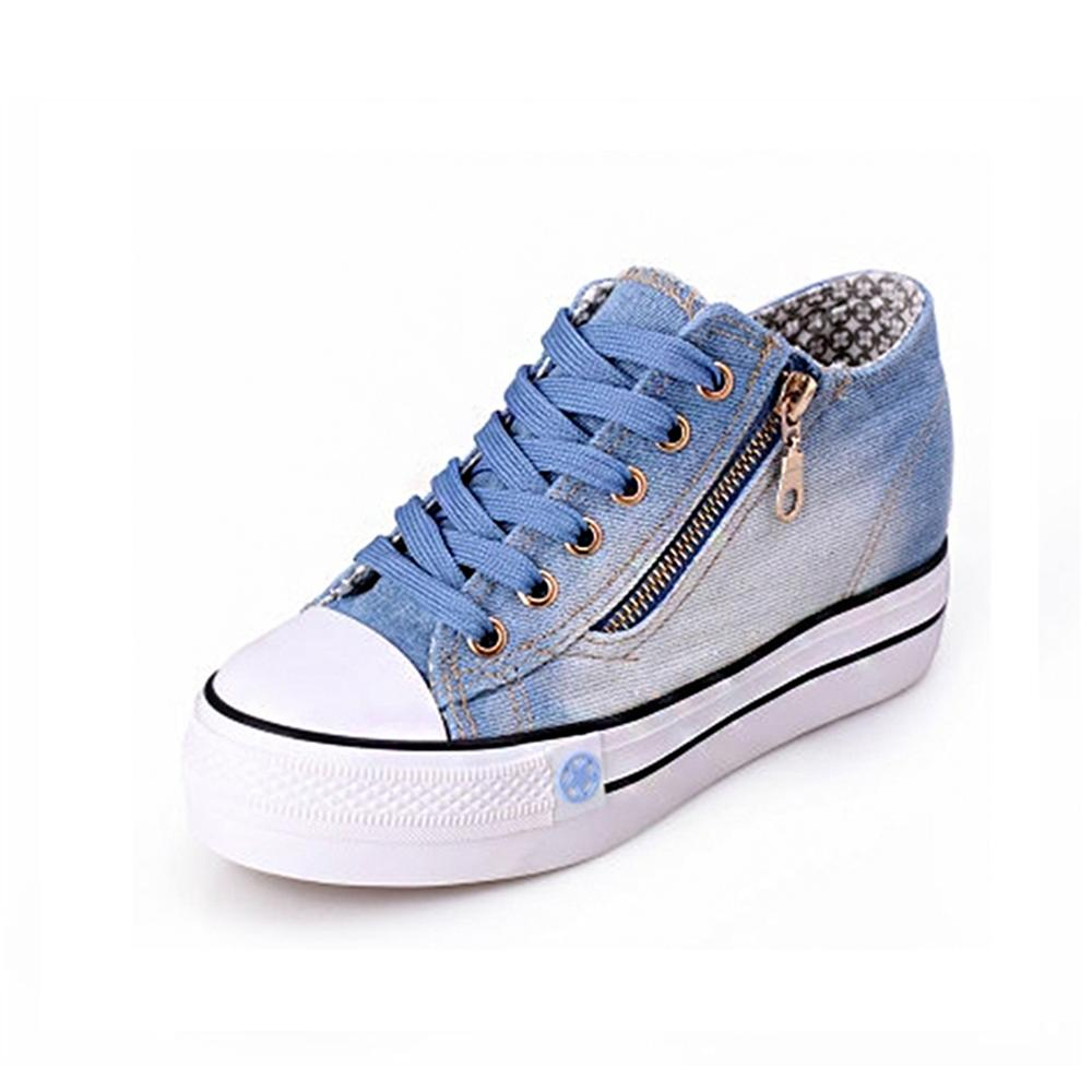 2018 new Free Shipping New Canvas Shoes Fashion Leisure Women Shoes Female Casual Shoes Jeans Blue 35-40 new 2017 male fashion boutique pure color rivets adornment blue leisure jeans male high grade slim foot casual jeans pants