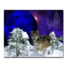 Moon Night Snow Wolf DIY Digital Painting By Numbers Wall Art Picture Acrylic Drawing Paint Home Decor 40x50cmx1p