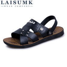 2019 LAISUMK Cow Leather Men Sandals Black Brown Hand Sewing Summer Shoes Breathable Beach