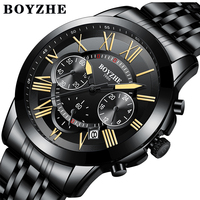 BOYZHE Men Sport Quartz Business Watch Stainless Steel Luminous Hands Waterproof Calendar Fashion Man Watches Relogio Masculino