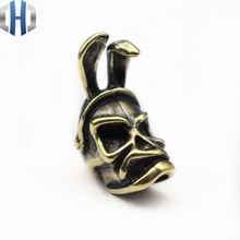 2019 Punk Skull Brass Knife Beads Umbrella Rope Bead Outdoor EDC Rabbit Ear Paracord