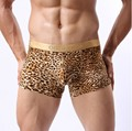 2014 COCKCON Leopard Print Penis Pouch Tights Men's U convex Boxers Gold Edge Underwear Gay Shorts Drop shipping 6pcs/lot M L XL