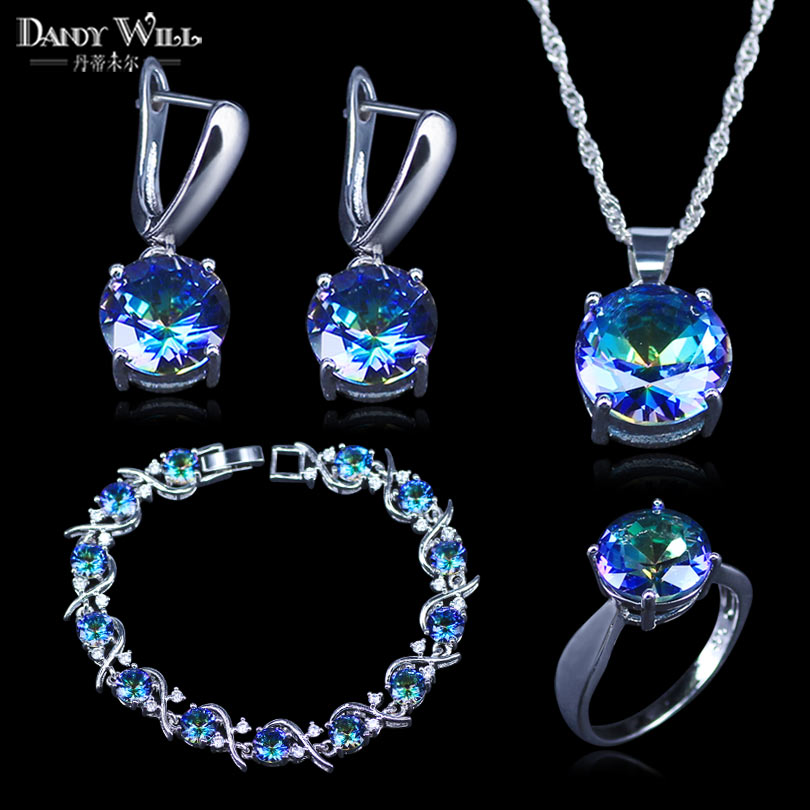 Mystic Rainbow Cubic Zircon White CZ 925 Stamp Silver Color Jewelry Sets For Women Party Necklace/Earrings/Pendant/Ring/Bracelet