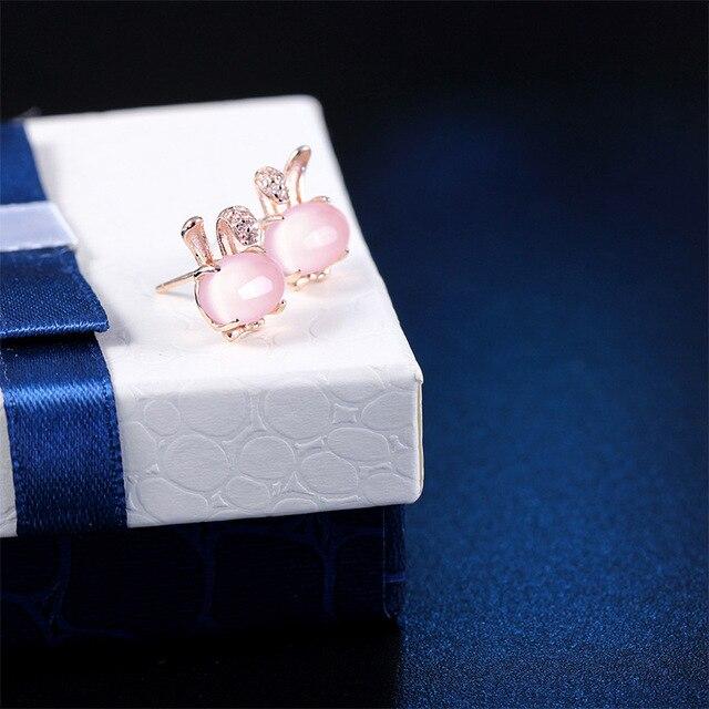 Argento sterling 925 natural stone 100% quarzo rosa orecchini coniglio di disegno semplice selvaggio orecchini per le donne 2018 charms regalo